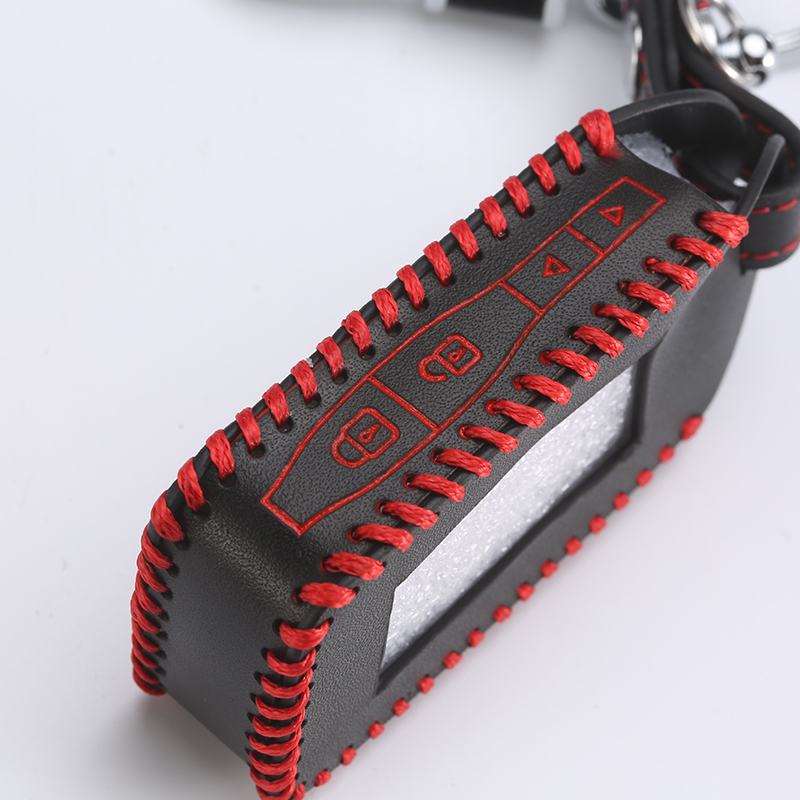 E60 E90 Hand Sewn Leather Key Cover Cases For StarLine E90 E60 E63 E93 E95 E66 E96 LCD Remote Controller Transmitter
