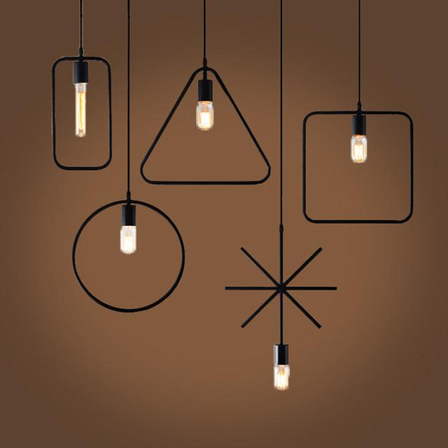 Luzes pingente de ferro do vintage geométrica industrial Lâmpada E27 Para Sala De Jantar Preto 1 M sótão luz