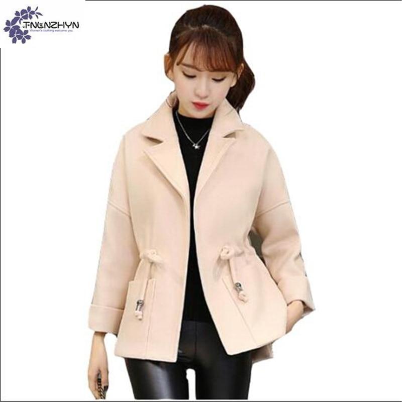 TNLNZHYN Women clothing Woolen cloth coat winter fashion large size Long sleeve irregular cardigan female Woolen Outerwear QQ331