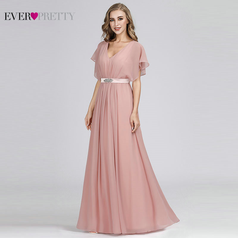 Image 3 - Pink Evening Dresses Long Ever Pretty EZ07717 Elegant A line Chiffon Short Sleeve V neck Sash Beaded Evening Gown robe de soiree-in Evening Dresses from Weddings & Events