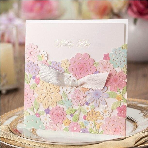 2015 Desain Elegan Floral Laser Cut Kartu Undangan Pernikahan