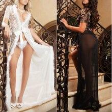 Mulheres Vestido de Lingerie Sexy Lingerie de Renda Vestido Longo Sleepwear Robe G-string Define Preto branco cores 1 pcs