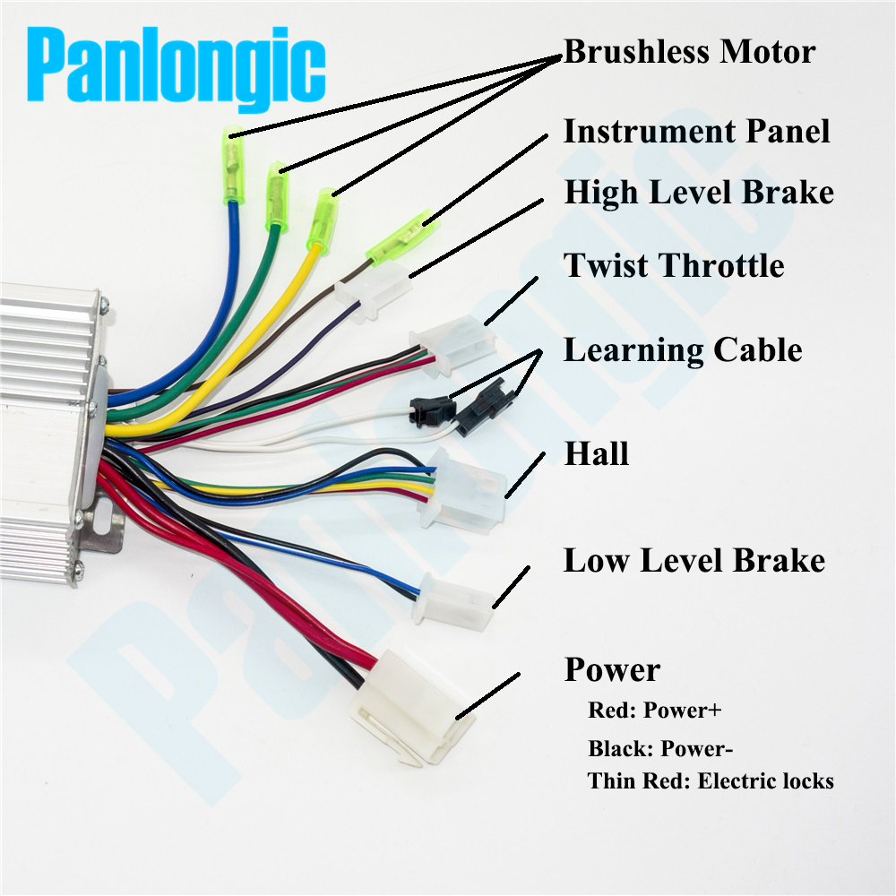 Panlongic 36v 48v 350w Electric Bicycle E Bike Scooter Brushless Dc Learn For Cable Wiring Diagrams Motor Speed Controller Simple Edition In From Home Improvement On