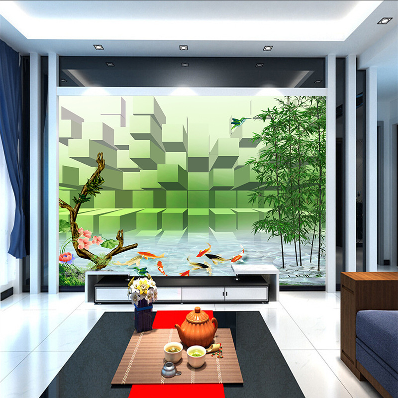 ShineHome-Bamboo Goldfish in River on Blocks Modern Wallpaper for Walls In Mural Roll Wall-Papers 3d on a Wall papel de parede