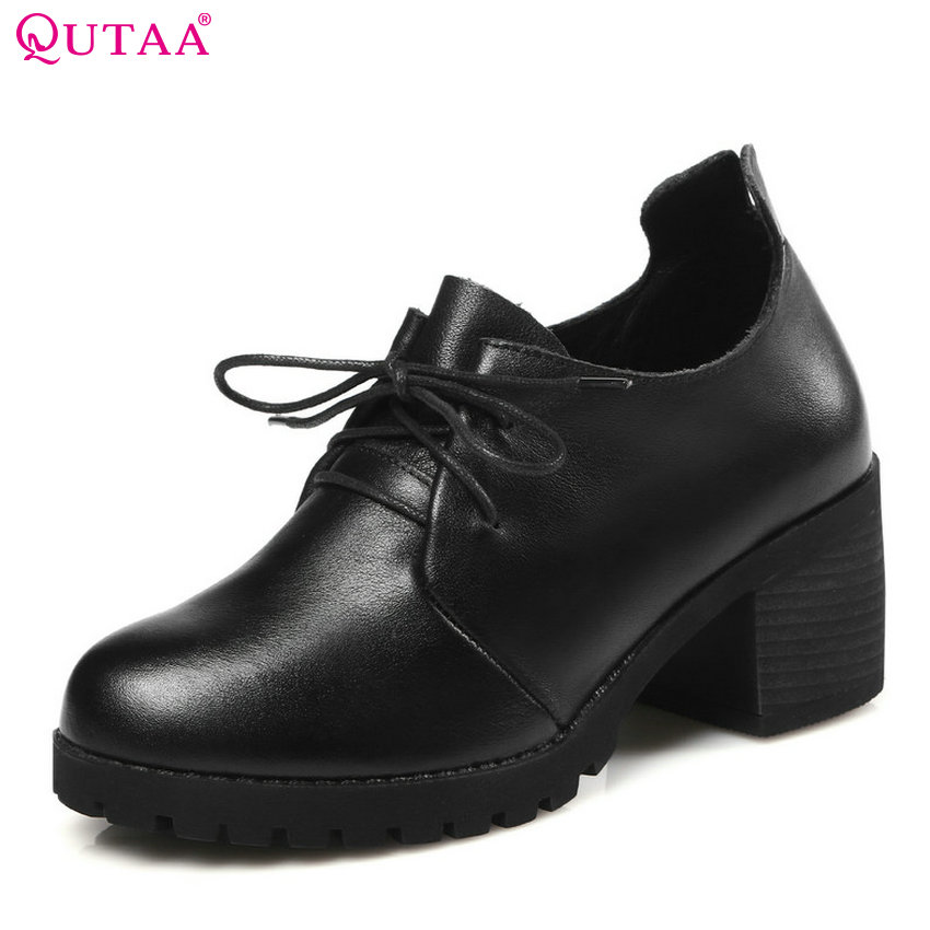 QUTAA 2018 Women Pumps Genuine Leather +pu Women Shoes Lace Up Square High Heel Round Toe Casual Women Shoes Size 34-40 big size 11 12 elegant round toe lace up casual square heel women s shoes high heels pumps woman for women