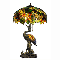 Luxury Stained Glass Bird Tiffanylamp Tall Desk Table Lamp Light Art Decor Living Room Office Bar Counter Hotel Cafe Decorative