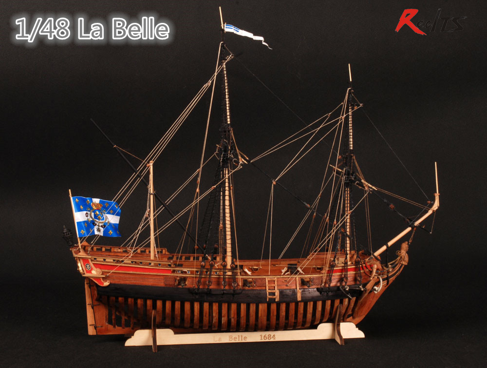 RealTS modèles de navires en bois Kits bateaux en bois 3d coupe Laser échelle 1/48 La Belle 1682 modèle de côtes complètes