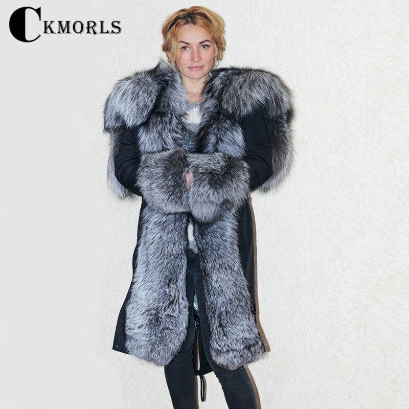 CKMORLS 2018 новая парка куртки зимние пальто для женщин верхняя одежда с большим серебряным лисьим меховым воротником Черная куртка Женская дли...
