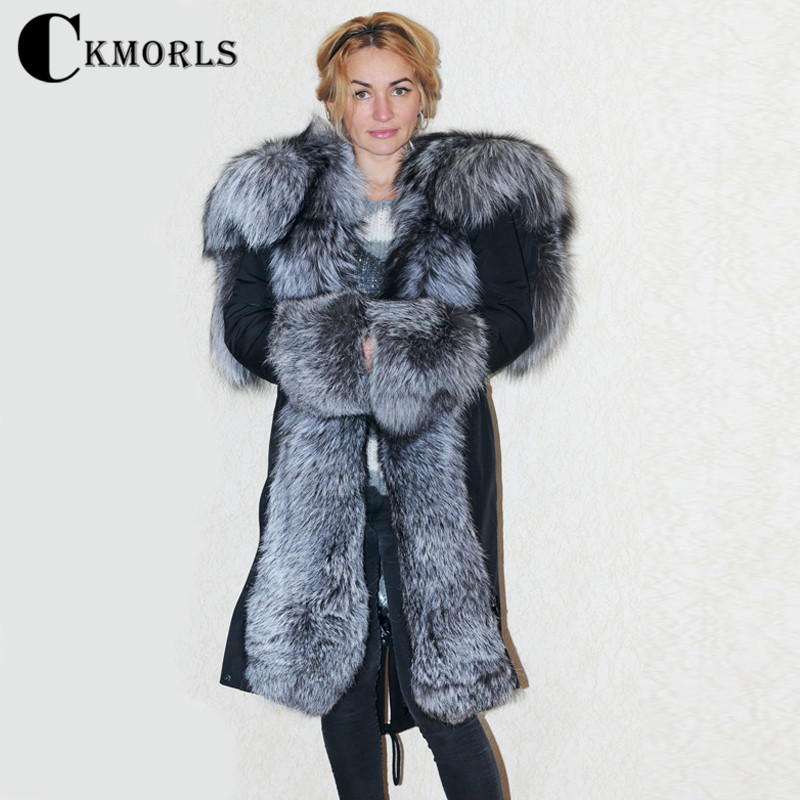 CKMORLS 2018 New Parka Jackets Winter Coats For Women Outwear With Big Silver Fox Fur Collar Black Jacket Female Long Fur Parkas