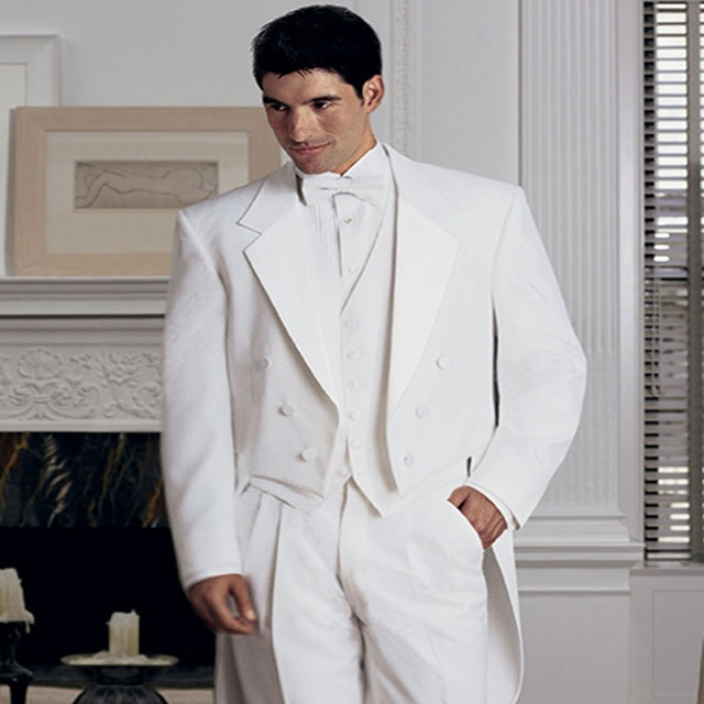 2018 New Tailored White Groom Tuxedos Double Breasted Wedding ...