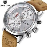 BENYAR Chronograph Sport Mens Watches Top Brand Luxury Quartz Watch Clock All Pointers Work Waterproof Business