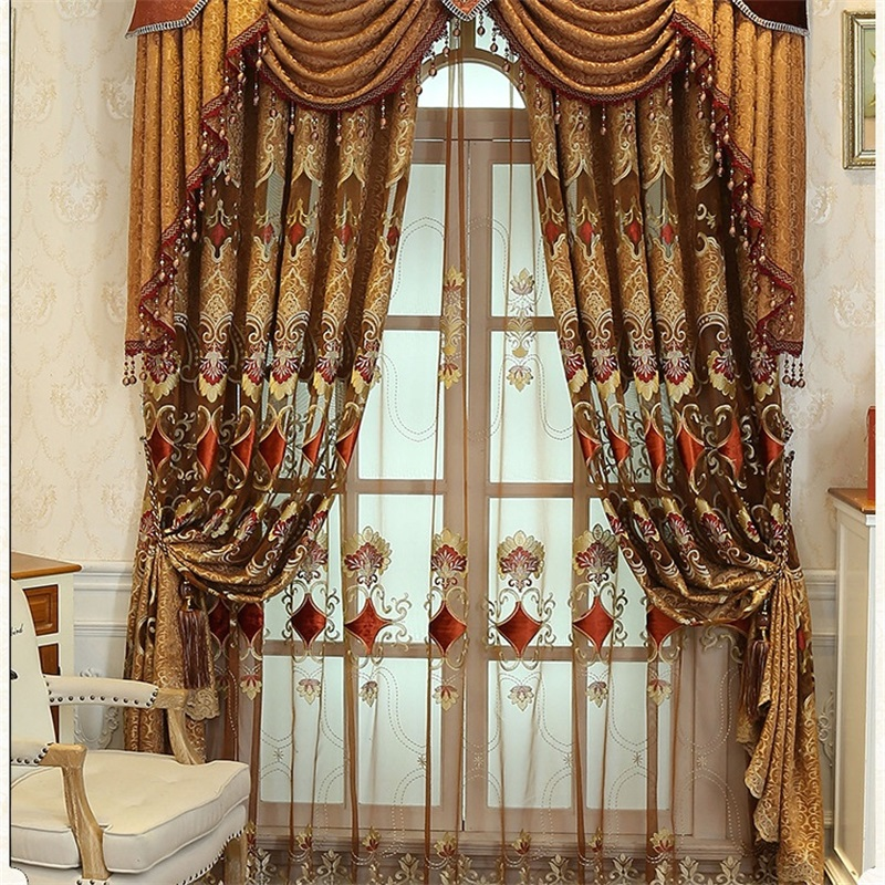 European and American Style Royal Gold Luxury curtains for Living Room window curtain Bedroom Window curtain kitchen/Hotel 328#3