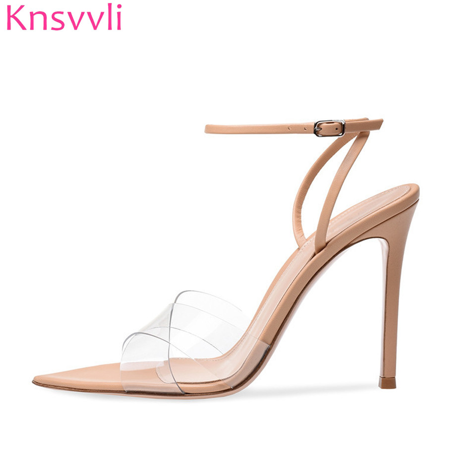 Knsvvli Black Transparent Stiletto Sexy Women Shoes Cross One Word Buckle Pointy Toe Summer Nude Color High Heel Sandals Women