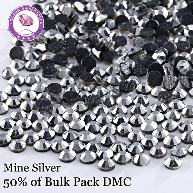 New Arrival ! High Quality DMC Hotfix Rhinestones Color Mine Silver For DIY  Dresses Decoration Iron On Stones