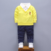 Newborn Girls Boys Clothing Sets 2018 New Autumn Casual Solid Cartoon Pullovers 2pcs Baby S Sets