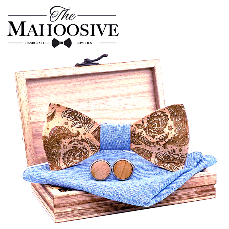T262 3D Paisley Wooden Bow Ties For Men Wood Tie Wood Gentleman Bow Ties Handmade Butterfly Wedding Party Gift For Men