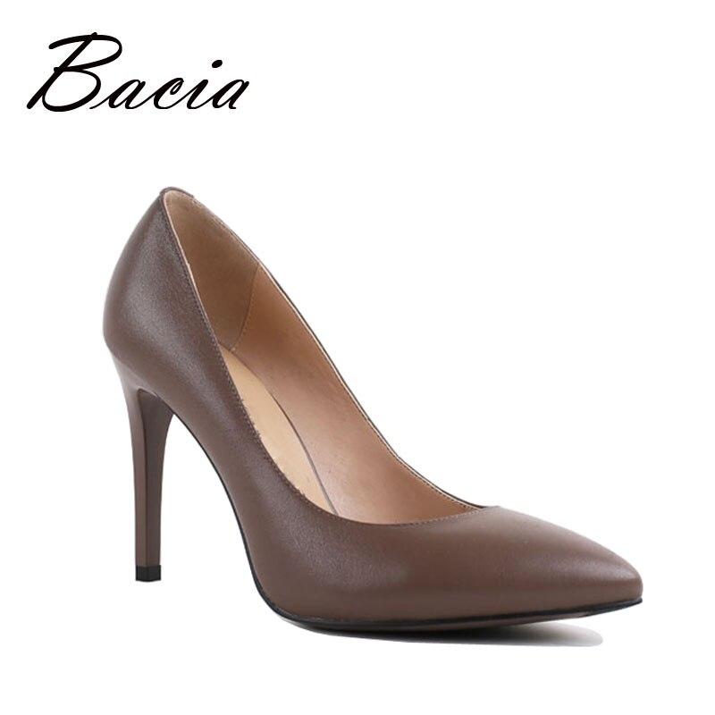 Bacia 9,8 cm de tacón alto bombas de piel de oveja de lujo hecho a mano caliente de moda zapatos de cuero genuino zapatos de mujer bombas de Damas ruso tamaño VC010