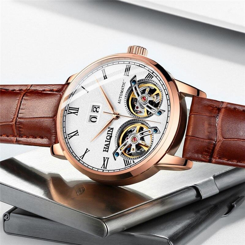 Machines automatiques d'affaires Double Tourbillon montre hommes HAIQIN hommes montres Top marque de luxe militaire sport horloge reloj hombre-in Montres mécaniques from Montres    2