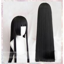 100cm zorlayıcı kumarbaz Kakegurui Yumeko Jabami Cosplay peruk siyah düz isıya dayanıklı sentetik saç peruk peruk + peruk kap