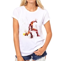 Mode neue frauen superhero malerei t-shirt frauen weiß cartoon kurzarm super hero t mädchen hemd n17-6 #