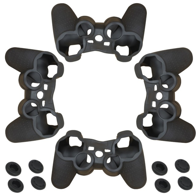 blueloong 4 pcs Soft Anti-Slip Silicone Rubber Skin Case Cover For Sony PlayStation Dualshock 3 PS3 Controller Game Accessories
