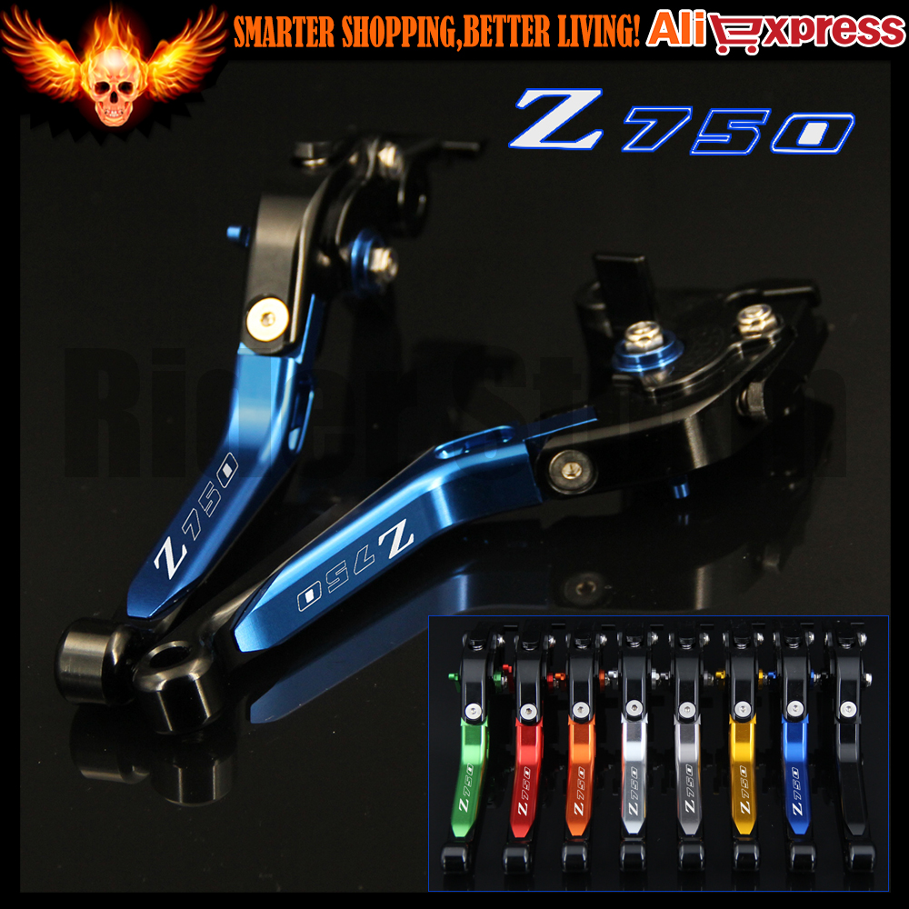 Logo Z750 Bleu + Noir CNC Pliant Extensible Moto Frein Levier D'embrayage Pour Kawasaki Z750 (pas de modèle Z750S) 2004 2005 2006