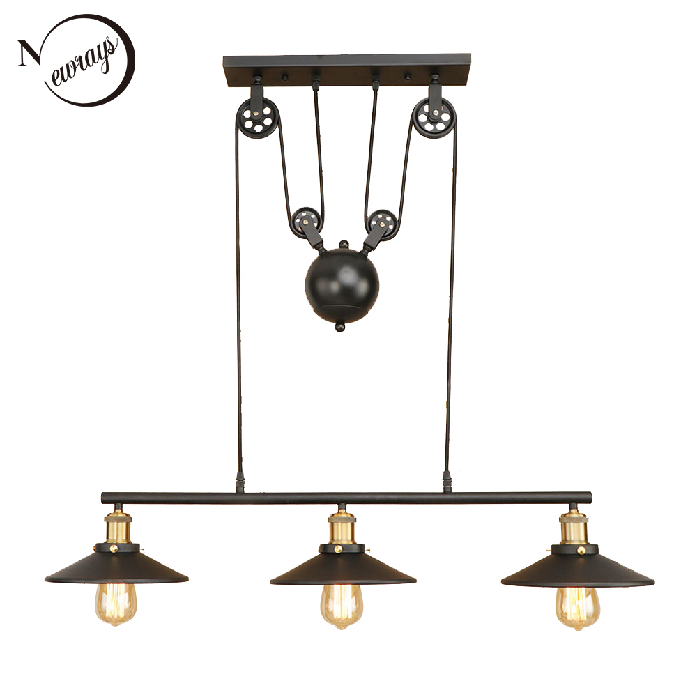 Retro Hanging black Pendant Lamps E27 LED Light glass lampshade adjustable vintage pulley for living Room restaurant Kitchen Retro Hanging black Pendant Lamps E27 LED Light glass lampshade adjustable vintage pulley for living Room restaurant Kitchen