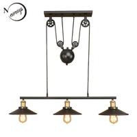 Retro Hanging black Pendant Lamps E27 LED Light glass lampshade adjustable vintage pulley for living Room restaurant Kitchen