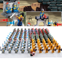 21PCS Lot Medieval Castle Knights Mini Building Blocks Brick Toys Armor Figures With Weapons Blue Lion