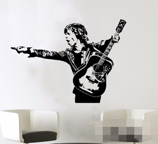 Free shipping mick jagger wall decal rock roll music artist vinyl sticker home room interior decoration