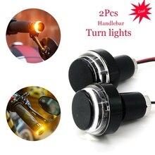 2PC Alloy Indicator Blinker Motorcycle Handlebar Light LED Plug Grip Bar End Turn Signal DRL Daytime Running Super Brigh