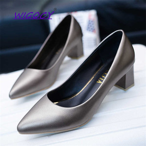 Pointed Toe Soft Leather Square heel 5 cm High heels pumps women shoes 2019 Simple Office Comfortable Wild Shallow female shoes