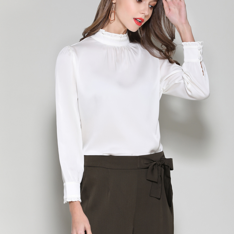 Silk Stain full sleeve Blouses shirts elegant white office lady work fashion solid silk shirts blouse tops summer Woman 2019 - 5