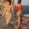 Caliente de La Manera Elegante vestido Largo de Fiesta Vestido de La Sirena de Baile Vestido Ocasional de Las Mujeres Sin Respaldo Vestidos de Verano Maxi Vestido 18