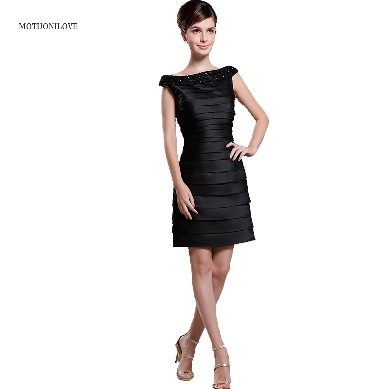 Vestidos De Coctel Real Photo Boat Neck Beading Tiered Satin Mini Party Gowns Black Short Mother of the Bride Dress Formal Gown(China)