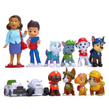 12pcs/set Paw Patrol Rescue Dog  Everest Figure Dolls Set Toys PVC Sliding Select Anime Action Model Child Birthday Gift