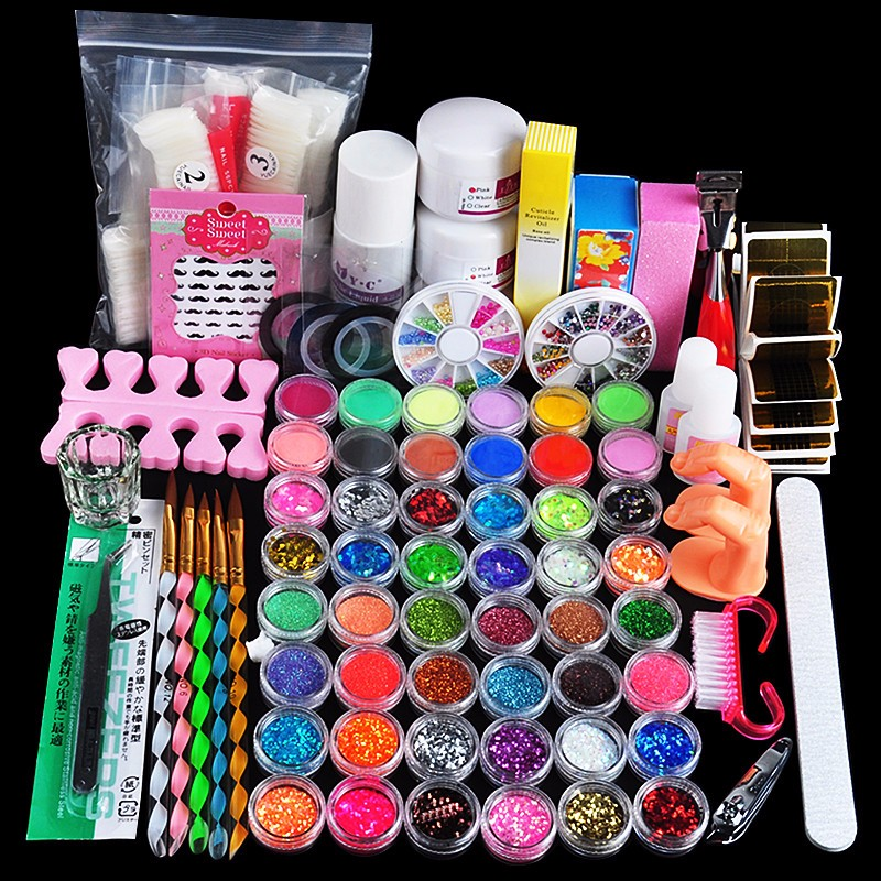Hot Sale Acrylic Liquid Nail Art Brush Glue Glitter Powder Buffer Tool Set Kit Tips #NP138 42x acrylic nail art tips powder liquid brush glitter clipper primer file set