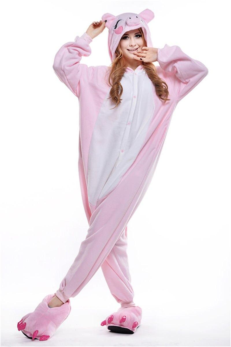 d4b47432cf 2016 Winter Pink Pig Pajamas Soft Cartoon Costume Onesie Fleece Pyjamas  Disfraz Animal Pijama mujer   pajamas woman