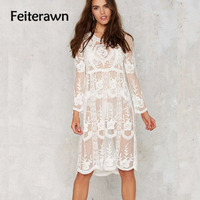 Feiterawn 2017 Women Summer Beach Cover Up Long Sleeve O Neck Mesh Floral Embroidery Sexy Beach