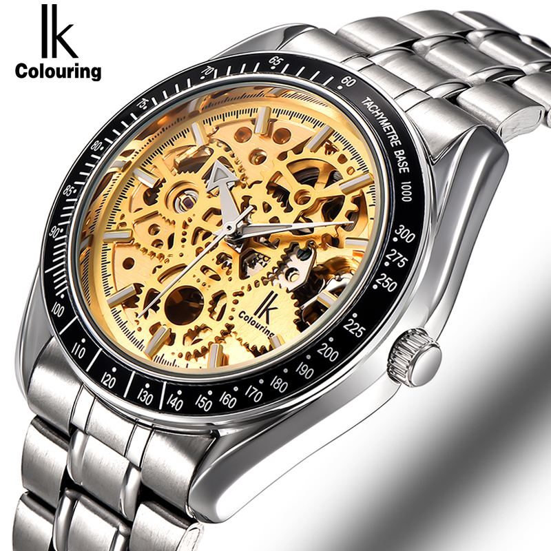 IK Top Brand Luxury Sport Watch Mens Automatic Skeleton Mechanical Wristwatches Fashion Casual Stainless Steel Relogio Masculino mce top brand mens watches automatic men watch luxury stainless steel wristwatches male clock montre with box 335