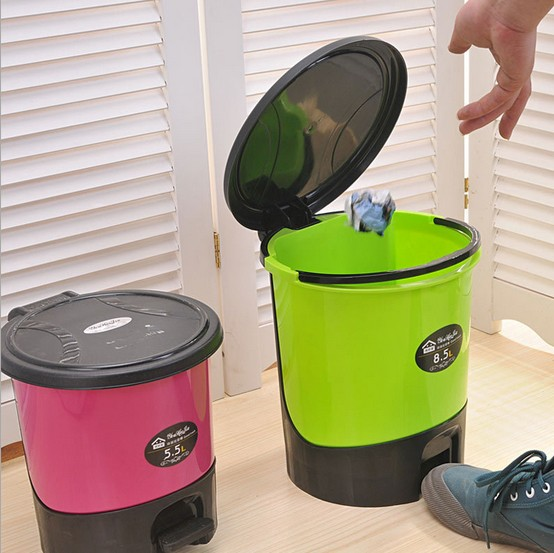 1PC Creative Lovely Large Household Trash for Kitchen and Toilet Waste Bins Plastic Pedal Dustbin with Cover KP 001