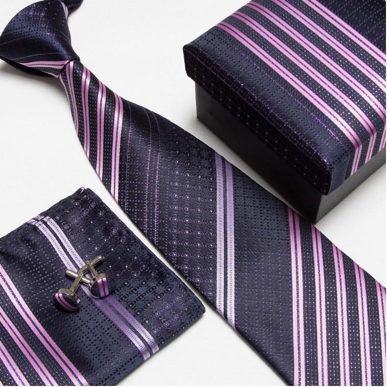 Мужская мода высокого качества полосатый набор галстуков галстуки Запонки hankies шелковые галстуки Запонки карманные носовые платки - Цвет: 8