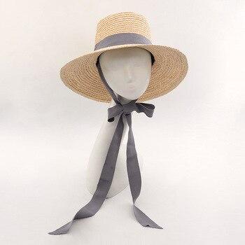 Muchique sombrero del cubo del verano Beach Sun sombreros para las mujeres 2017  sombreros de paja rafia con lazo de cinta 2ebf59a0bc7