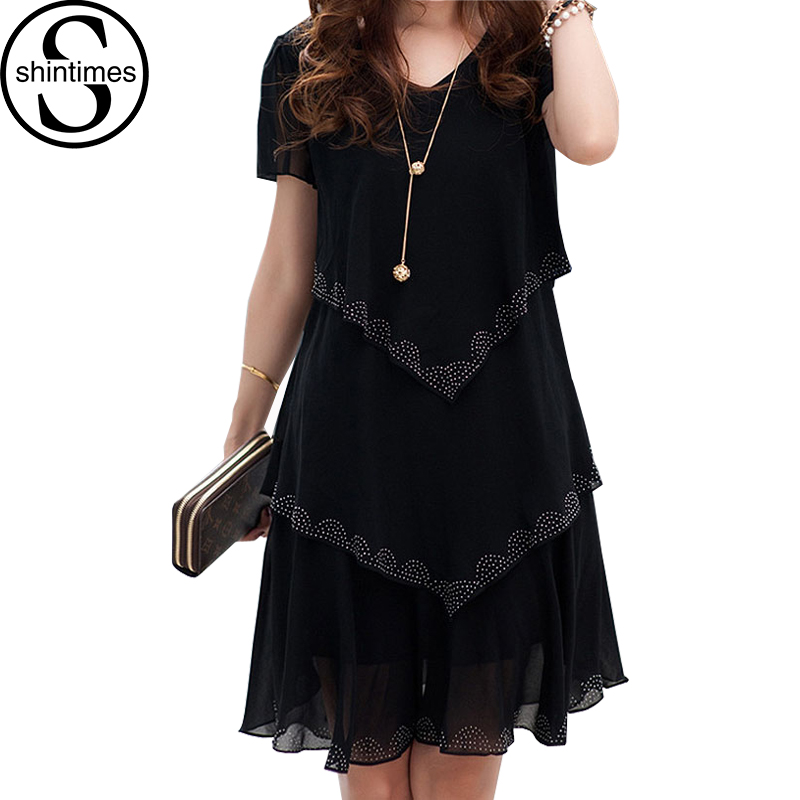 5XL Plus Size Dameklær 2018 Chiffon Dress Sommerkjoler Party Short Sleeve Casual Vestido De Festa Blue Black Robe Femme
