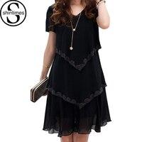 5xlプラスサイズの女性服2018シフォンドレス夏のドレスパーティー半袖カジュアルvestidoデ·フェスタブルー黒ローブファ