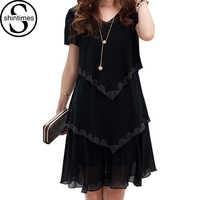 5xl plus size roupas femininas 2018 chiffon vestido de verão vestidos festa manga curta casual vestido festa azul preto robe femme
