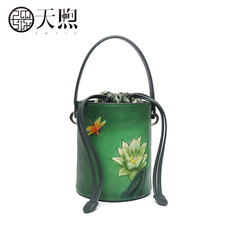 Pmsix high quality fashion luxury brand bucket bag 2018 new leather retro embossed national wind hand shoulder bag Messenger bag naisibao2018 new luxury fashion 100% high quality leather handbag shell bag messenger bag leather embossed wind coat