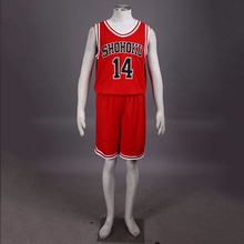 Japanese Anime SLAM DUNK Hisashi Mitsui Cosplay Shohoku High School Basketball Team NO 14 Sports Uniform