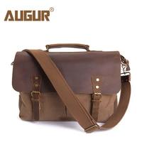 AUGUR Men Handbags 15 6 Inch Leather Vintage Messenger Shoulder Bag For Men And Women Canvas