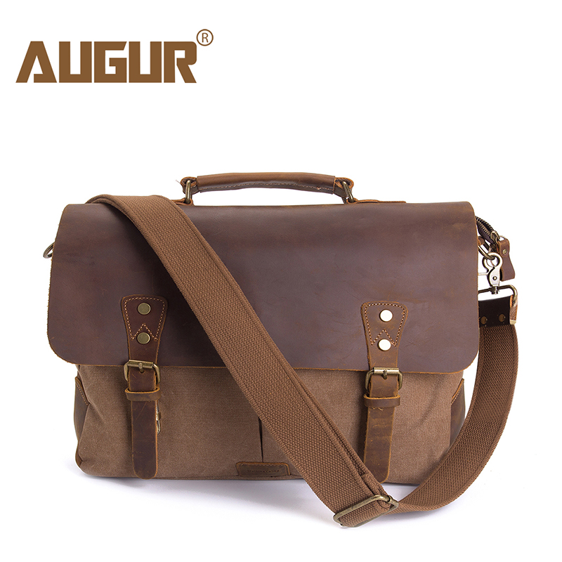 AUGUR Men Handbags 15.6 inch Leather Vintage Messenger shoulder Bag for Men and Women Canvas Back to School Satchel Laptops Bag stylish metal and canvas design satchel for women